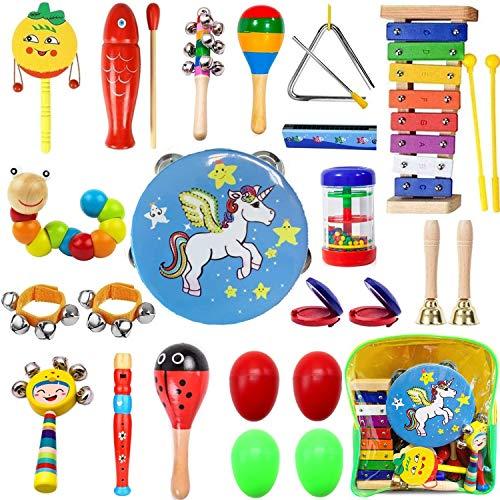 Yetech 27 PCS Musikinstrumente Musical Instruments Set, Holz Percussion Set Schlagzeug Schlagwerk Rhythm Toys Musik Kinderspielzeug für Kleinkinder und Baby
