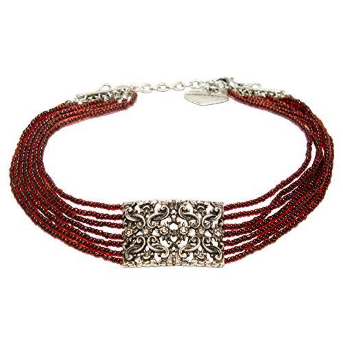 Alpenflüstern Trachten-Perlen-Kropfkette Edelweiß-Ornament - Elegante Trachtenkette - nostalgischer Damen-Trachtenschmuck, Filigrane Dirndlkette rot DHK255