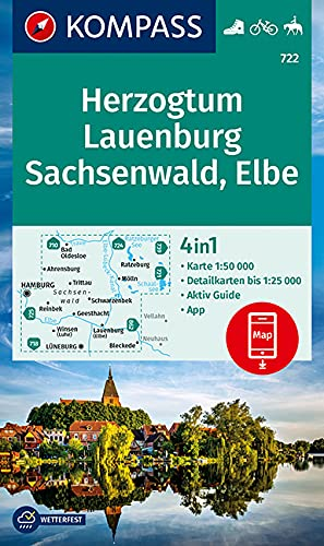 KOMPASS Wanderkarte Herzogtum Lauenburg, Sachsenwald, Elbe: 4in1 Wanderkarte 1:50000 mit Aktiv Guide und Detailkarten inklusive Karte zur offline ... Reiten. (KOMPASS-Wanderkarten, Band 722)