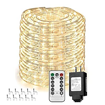 Solhice 66ft 330 LEDs Rope Lights, Waterproof Dimmable LED Tube Fairy Light with Remote Control, Warm White, Indoor Outdoor for Deck, Patio, Wedding, Bedroom Decor