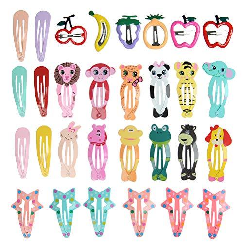 WOWOSS 30 Stück Haarspange für Mädchen, Cartoonentwurf, mit Metallschnappverschluss