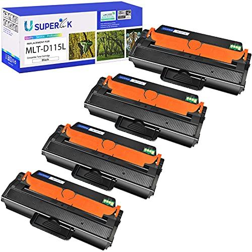 SuperInk 4 Pack MLT-D115L MLT-D115S High Yield Black Toner Cartridge Compatible for Samsung Xpress SL-M2880FW SL-M2870FW SL-M2830DW Laser Printer