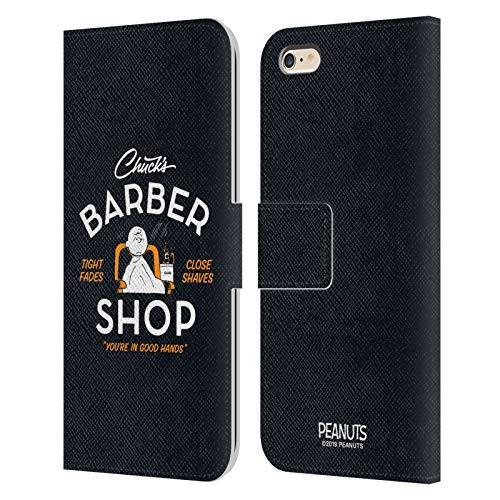 Officiële Peanuts Charlie Bruin Chuck's kapper Lederen Book Portemonnee Cover Compatibel voor Apple iPhone 6 Plus/iPhone 6s Plus