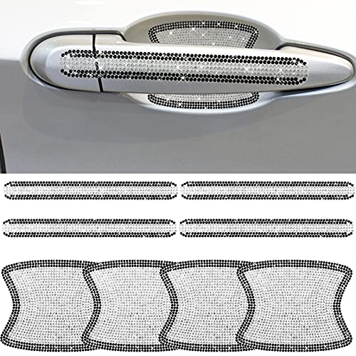 8 Pieces Rhinestone Bling Car Door Handle Scratch Protector Reflective Sticker Bling Car Handle Cover Door Handle Bling Car Door Handle Cup for Car (Black and Silver)