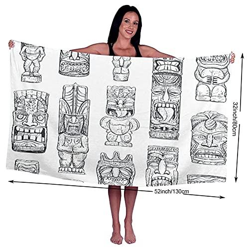 Toalla de arena, Toalla de baño, Tótem de bocetos Hawaiian Tiki Idols Tattoo Mask Polynesian Bar Luau, Secado rápido, alta absorción, Ligero y fino Toalla de baño suave, Baño de natación, Ejercicio fí