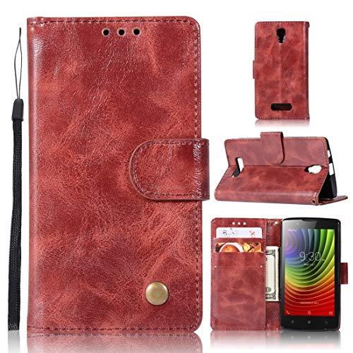RONGCHAO Tasche für Mobiltelefon for Lenovo A2010 Retro Kupfer Knopf Crazy Horse Horizontal Flip PU-Leder-Kasten mit Halter und Card Slots und Wallet und Lanyard (weinrot) Shell Cover (Farbe : Wine Red)