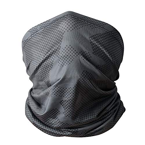 Neck Gaiter Summer Bandana Men Women - Dust & Sun Protection Fishing Face Mask for Hiking, Cycling, ATV Riding Grey