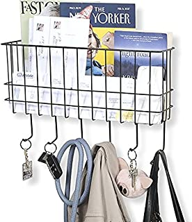 WALL35 Sicily Unique Metal Wire Basket - Wall Mounted Entryway Organizer - Key Holder - Coat Rack with Hooks - Mail and Magazine Holder (Black)