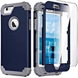 iPhone 6S Case, iPhone 6 Case with Tempered Glass Screen Protector, IDweel 3 in 1 Heavy Duty Rugged Shockproof Hybrid Hard PC Covers Soft Silicone Full Body Protective Case for Men Boys, Blue + Gray