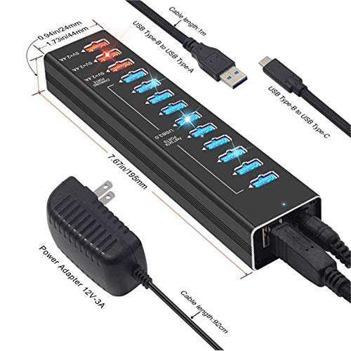 USB 3.0 Hub Powered, 13-Port USB 3.0 Extension Splitter (10 USB 3.0 Gegevenspoort + 3 USB 3.0 Smart Charging Ports) With12v / 3A Power Adapter Voor High Power USB-Apparaten