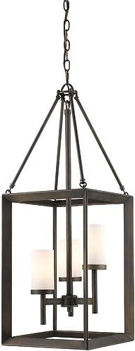 discount Smyth sale 3 Light Pendant wholesale (Gunmetal Bronze & Opal Glass) online sale