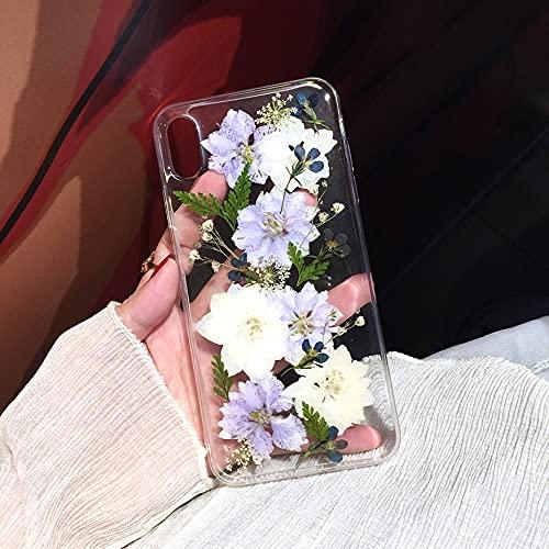 Custodia per telefono con fiori secchi pressati reali per iPhone X XS Max XR 6s 7 8 Plus 12 11 Custodia Pro Max SE Custodia morbida trasparente floreale,1, per iPhone 7 PLUS
