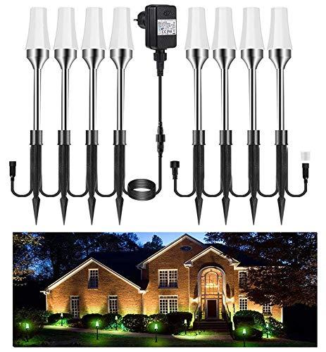 Gartenleuchte RGB 8er Greenclick Gartenbeleuchtung mit Erdspieß LED Rasenlicht, Wasserdicht IP65 Wegbeleuchtung, Gartenstrahle mit Kabel 7.6M/60LM, erweiterbar für Outdoor Hof Rasen Straßenrand