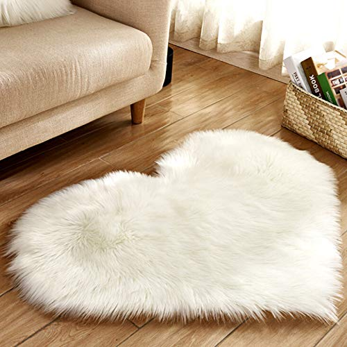 Alfombra de piel de oveja sintética con forma de corazón, alfombra para sala de estar, habitación de niños, decoración del hogar