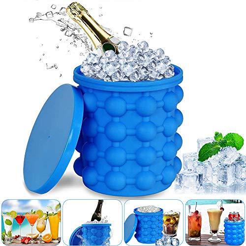 YQHbe Eiswürfel Silikonform, Ice Cube Maker EiswüRfelbehäLter mit Deckle Silikon Eiseimer Platzsparende 2 in1 EiswüRfelformen Für Whiskey, Cocktail und Jedes GeträNk BBQ, Groß eis