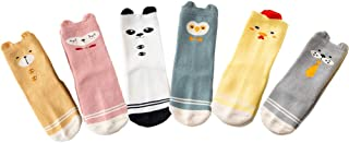 ESA Supplies 6 Pack Baby Socks With Grips 6-12 12-24 Months Non Skid Winter Thick Warm Socks For Baby Toddler Girls 1T 2T 3T