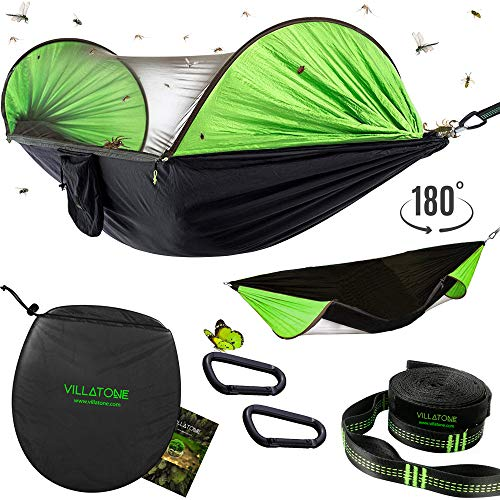 VILLATONE Camping Hammock with Mosquito Net. Easy Setup: No-Ropes No-Knots (Professional Straps and Carabiners). Lightweight Parachute Nylon Hanging Hammock with Bug Netting and Sun Shield
