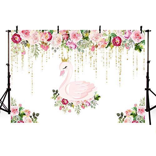 MEHOFOTO fondos para cabina de estudio de fotografía de princesa cisne para fiesta de cumpleaños, acuarela, rosa, floral, oro, purpurina, para fiesta de bebé, 7 x 5 pies
