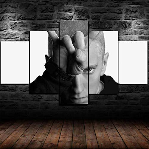 MENGLE Mit Rahmen,Leinwand Bilder 5 Stück Leinwanddrucke,Modulare Wandkunst Wandaufkleber,Wanddeko 5 Teiliges Wandbild,5 Teilig Kunstdruck,Moderne Gemälde,Wandgemälde,Eminem Rap,150X80Cm