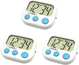 3 Pack Digital Kitchen Timer Magnetic Back Big LCD Display Loud Alarm Minute Second Count Up Countdown With ON/OFF Switch For Kitchen, Homework, Exercise, Game(3 White)