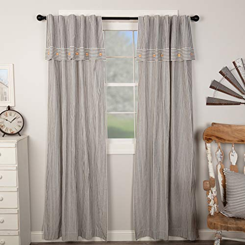 """Piper Classics Farmhouse Ticking Stripe Gray Panel Curtains, Set of 2, 96"""" Long, Farmhouse Style Panels w/ Attached Valance & Button Accents, Long Drapes"""