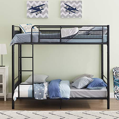 Walker Edison Orion Urban Industrial Twin over Workspace Metal Bunk Bed, Twin Size, Black