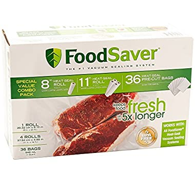Special Value Combo Pack FoodSaver 8  & 11  Rolls & 36 Heat-Seal Pre-Cut Bags BPA free