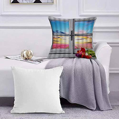 Ccstyle Funda de Cojín Funda de Almohada del Hogar Flor Vintage Ventana de Madera Tulip Field Sunset Sky Pink Blue,Square Soft and Cozy Pillow Covers,