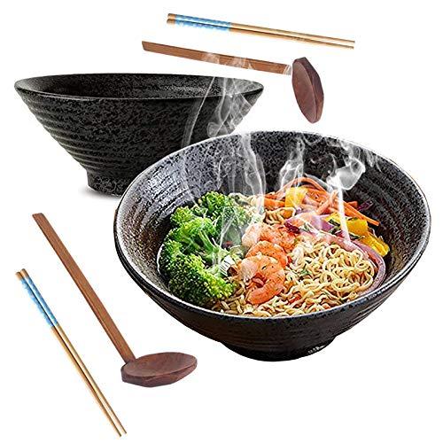 2 Juegos (6 Piezas) Cuencos de Ramen Cerámica, 9Inch/1350ml Tazón de Sopa, Tazón de Cereal, Vajilla de Cocina Japonesa, Fácil de Limpiar y Apto Para Lavavajillas