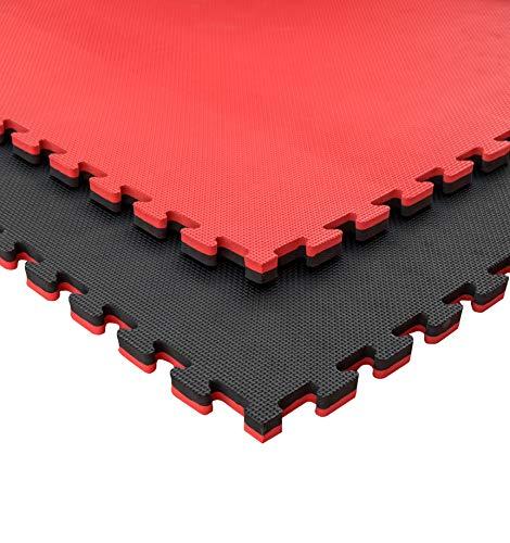 JOWY Lote 9 Unidades Esterilla Goma Espuma Tatami Puzzle | Tatami Suelo para Gimnasio Ideal Artes Marciales 1m x 1m x 2 cm Rojo/Negro