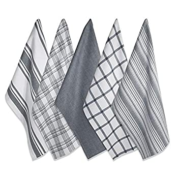 DII Kitchen Dish Towels  Gray 18x28   Ultra Absorbent & Fast Drying Professional Grade Cotton Tea Towels for Everyday Cooking and Baking - Assorted Patterns Set of 5