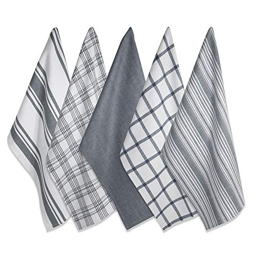 set of 5 ultra absorbent and fast drying cotton tea towels