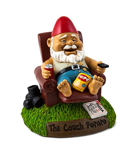 BigMouth Inc Couch Potato Garden Gnome, Funny 9-inch Tall Lawn Gnome Statue, Garden Decoration