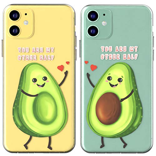 Toik Matching Couple Cases for Apple iPhone 11 Pro Xs Max Xr 10 X 8 Plus 7 6s 5s SE Cover Gift You are My Other Half Silicone Relationship Boyfriend Slim Cute BFFs Soulmate Girly Print Fruit Avocado