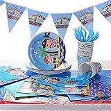 Ulikey 162-teiliges Piraten Party Teller Set für 20 Personen mit Tellern, Tassen, Servietten, Tischtüchern, Löffel, Banner, Gabeln und Messern Kinder Geburtstag Mottoparty Pirat Piraten