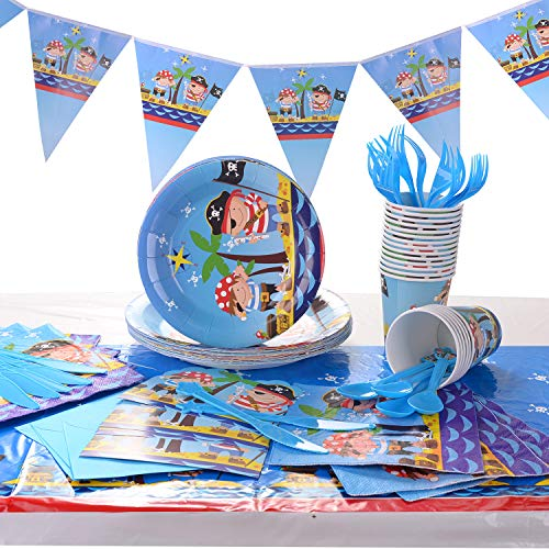Ulikey Pirata para Fiestas, Set de Fiesta Kids Birthday Pirate, Pirata Artículos Fiesta Niño Incluye Pancarta, Platos, Vasos, Cubiertos, Servilletas, Mantel, Cucharas, Tenedores y Cuchilos