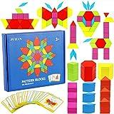 Afunti Bloques de Madera Blocks Juguetes educativos clásicos con 155 Piezas de Formas geométricas y 24 diseños
