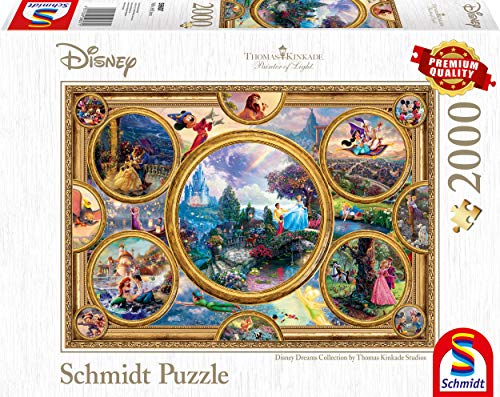 Schmidt Spiele- Thomas Kinkade Disney Dreams Collection - Puzzle (2000 Piezas), Color carbón (59607)