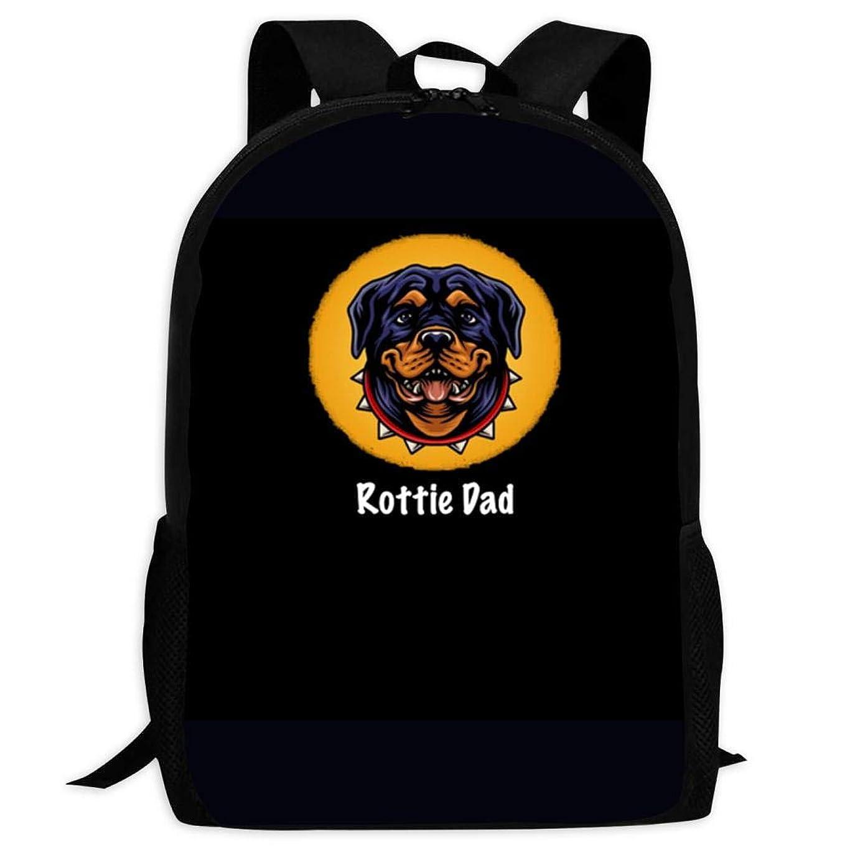 ママ言い訳対象3D Rottweiler Dad Gift スクールバッグボトルサイドポケット付きの子供のバックパックの軽量ファッションの女の子