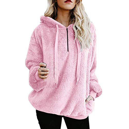 Mujer Caliente y Esponjoso Tops Chaqueta Suéter Abrigo Jersey Mujer Otoño-Invierno Talla Grande Hoodie Sudadera con Capucha riou
