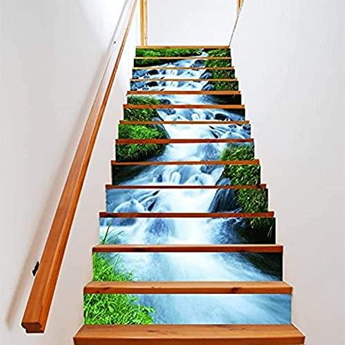Pegatinas personalizadas para escaleras, pegatinas impermeables con patrón de cascada, 3D autoadhesivo para pared, decoración familiar, regalo de inauguración de la casa