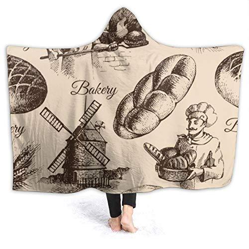Bakery Bread Hoodie Blanket,PNNUO Flannel Wearable-Hooded Blanket,Oversized & Warm Blanket Hoodie for Kids Women Men