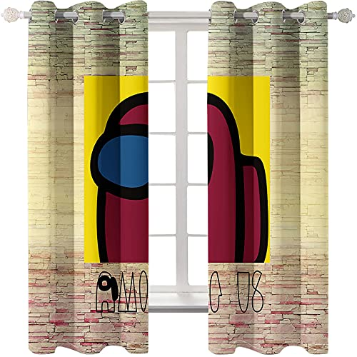 SSHHJ Cartoon Animation Modern Printing Curtains Shading Heat Insulation Punching Easy To Install Floating Curtains Suitable For Bedroom Living Room Children'S Room