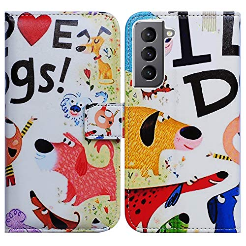 Galaxy S21 5G Case,Bcov Colorful Cute Dogs Leather Flip Phone Case Wallet Cover with Card Slot Holder Kickstand for Samsung Galaxy S21 5G