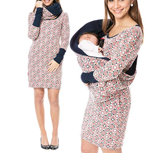 Allence Damen Schwangere Umstandskleidung Abnehmbar Rollkragen Gedruckt Pflege Sweatshirt Kleid Mutterschaft Herbst Winter Warme Mode Multifunktional Schwangerschaft Rundhals Baumwollkleid