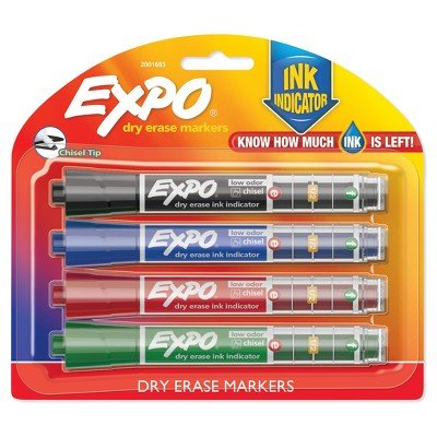 Expo174; Ink Indicator Dry Erase Markers, 4ct - Black MULTI-COLORED