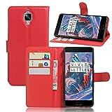 HS-TOP Caracola OnePlus 3, OnePlus 3Case, Construido en [Card Slot] Funda–Funda de Piel con Wallet Ultraslim Stand Case Flip Case Cover para OnePlus 3A3000, Rojo