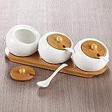 LHQ-HQ Condimento de cerámica Jar Set 3 Piezas Campo de Textura de bambú de la Tapa de la Especia potes de condimentos Cocina for Guardar Organizador con la Bandeja de la Placa Base de cucharas Tarro