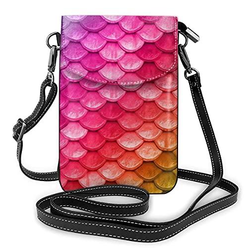 Crossbody Tasche Handy PU Premium PU Leder Umhängetasche Handy GeldböLeichte Smartphone Tasche mit verstellbarem Schultergurt;ner Hummer Schöne Bunte Regenbogen Meerjungfrau Waage