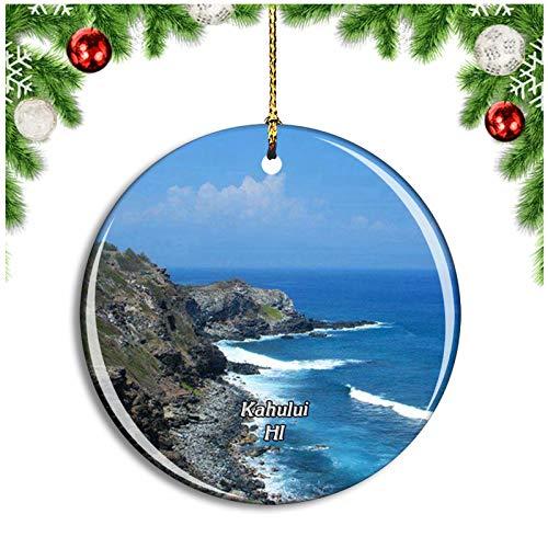 Weekino Kahului Hawaii USA Christmas Ornament Xmas Tree Decoration Hanging Pendant Travel Souvenir Collection Double Sided Porcelain 2.85 Inch